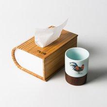 祥福乐透 鸡公陶瓷杯竹盒套组生肖款陶瓷个人杯竹制纸巾盒礼盒装