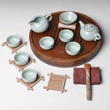 祥福 功夫茶具套装整套茶具茶盘竹制圆满竹茶盘汝窑套装大小号