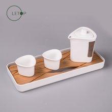 祥福 乐透 竹木功夫茶盘茶具套装创新陶瓷茶具套组旅行茶具便携