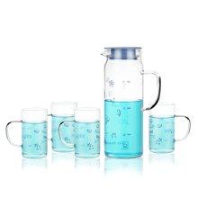 sohome 蓝色海洋冷热水壶套装 1.1L耐热玻璃瓶果汁壶 一壶四杯GR104-L
