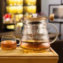 sohome 风尚竹木系茶具三件套 耐热玻璃茶壶过滤泡茶壶茶水分离GT502-A