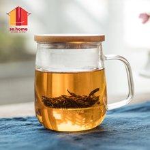 sohome 风尚茶隔办公杯 500ml耐热玻璃水杯 个人杯创意带盖C502-50