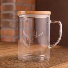 sohome 风尚竹木系个人杯 500ml耐热玻璃水杯 办公杯创意带盖C501-H