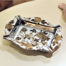 墨菲  欧式田园烟灰缸创意彩绘个性复古时尚简约陶瓷装饰烟缸摆件
