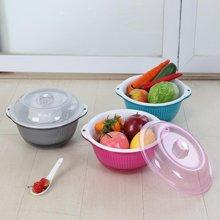 2221果蔬沥水筛 塑料三层带盖碗碟洗菜滴水盆