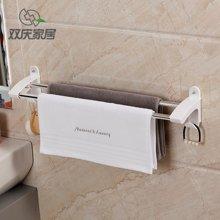 双庆吸盘式毛巾架免打孔不锈钢浴室单杆-双杆毛巾杆卫生间毛巾挂架挂杆 SQ-*5106/7