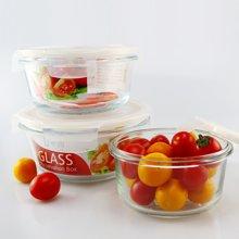 圆形钢化玻璃保鲜盒 微波炉饭盒 冷藏收纳碗 便当盒 保鲜碗