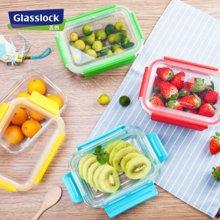 GlassLock进口玻璃饭盒 微波炉烤箱耐热便当盒 防漏钢化玻璃碗可拆卸盖