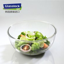 Glasslock韩国进口钢化玻璃沙拉碗玻璃保鲜盒微波炉饭盒大容量密封汤碗菜碗耐热面碗红色1000ML