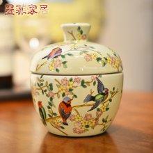 墨菲 东南亚手工复古陶瓷储物糖果罐/茶叶罐子创意收纳罐装饰摆件