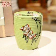 手作 手绘陶瓷收纳罐简约现代带盖储物罐茶叶罐糖果罐装饰摆件