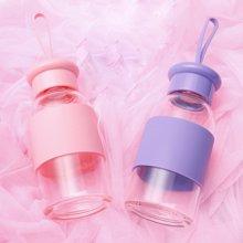 爱自由创意带提绳玻璃杯 简约耐热花茶杯