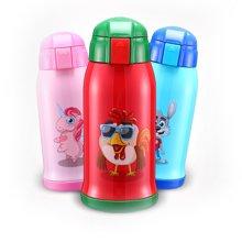 爱自由 304不锈钢儿童保温杯带吸管两用防摔幼儿园宝宝小孩水杯