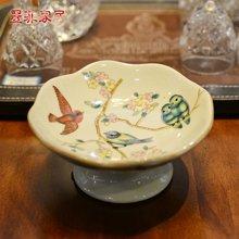 墨菲燕莺欧式时尚小果碟/点心碟彩绘创意简约陶瓷干果盘装饰摆件