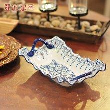 墨菲中式青花瓷水果盘镂空陶瓷干果碟创意时尚现代装饰零食糖果盘