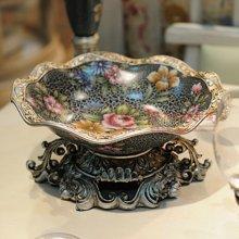 墨菲 欧式树脂水果盘复古创意客厅茶几装饰摆件零食糖果盘干果盘