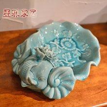 墨菲 手工大象欧式冰裂釉陶瓷奢华创意水果盘 客厅茶几餐桌零食盘