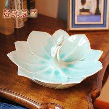 墨菲 北欧少女冰裂釉陶瓷水果盘 简约现代客厅茶几摆件零食干果盘
