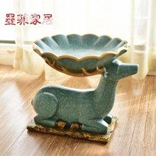 墨菲 欧式创意麋鹿水果盘 美式复古客厅茶几零食干果盘装饰品摆设