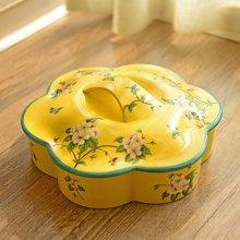 墨菲美式乡村陶瓷干果盘新中式客厅装饰分格带盖糖果盒瓜子收纳盒