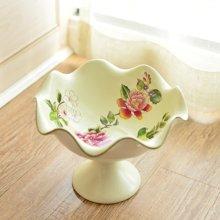墨菲 美式乡村高脚果盘 中式客厅创意陶瓷水果盘茶几家居装饰摆件