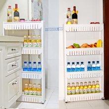 雅客集日式四层厨房置物架移动白色缝隙收纳架PA-13034