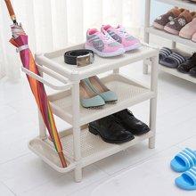 阡佰家 简约白色鞋架 时尚简单白色塑料环保PP放鞋架置物架子鞋架子
