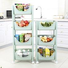 厨房置物架水果蔬菜带轮落地层架收纳筐储物架收纳架塑料菜架子