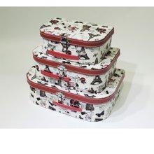 复古文艺小清新整理皮革收纳盒化妆品饰品收纳三件套