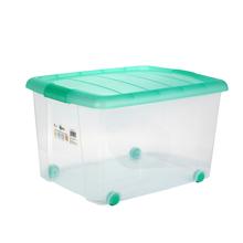 胜亮塑料衣服储物整理收纳箱  透明盒带盖有滑轮 中号箱   2002  绿色   48×37×30CM