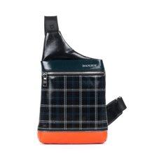 丹爵(DANJUE)全牛皮时尚个性圆筒胸包单肩斜挎包小背包潮流酷包撞色包8750-1