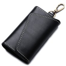 GSQ古思奇头层黄牛皮钥匙包 男士个性时尚多功能使用钥匙包 零钱包卡片包Y015黑色