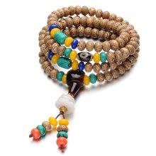 Lux-women-星月高密菩提陈籽108颗手链 项链-大吉大利(一款两戴)黄 棕 橙 黑 蓝 绿