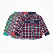 丑丑婴幼男童长袖衬衫秋季新款男宝宝格子长袖衬衫男童上衣T恤