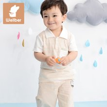 威尔贝鲁 竹纤维男女儿童短袖翻领T恤 纯棉婴儿春装打底衫上衣