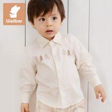 威尔贝鲁 竹纤维婴儿宝宝长袖衬衣 男女儿童衬衫 春秋季童装新款