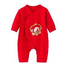 班杰威尔新生儿红色纯棉春夏宝宝内衣哈衣初生婴儿连体衣服