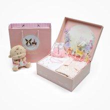 丑丑婴幼 女童套装礼盒秋季新款女宝宝六件套纯棉内衣礼盒套装