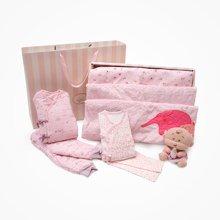 丑丑婴幼 秋冬季女童保暖棉套装粉嫩绑带哈衣卡通保暖毯礼盒装