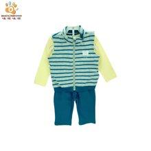 哇喔哇喔童装春新品男女宝宝套装儿童马甲+T恤+长裤三件套装S1A703M