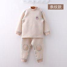 威尔贝鲁 宝宝内衣纯棉套装春秋 婴儿中领保暖彩棉内衣秋冬厚款