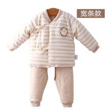 威尔贝鲁 彩棉新生婴儿开衫内衣套装 纯棉宝宝和尚服秋冬厚款0-12