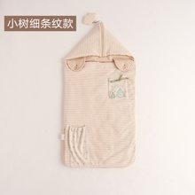 威尔贝鲁 彩棉棉毛布小房子造型包巾 小花大条纹款