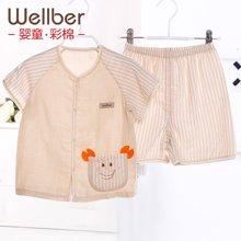 威尔贝鲁 纯棉宝宝家居服 儿童纱布睡衣夏季男女婴儿睡衣套装夏款