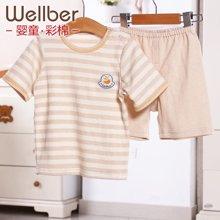 威尔贝鲁 宝宝短袖家居服套装 彩棉圆领儿童短袖T恤中裤夏季夏天