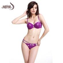 媚倾欧美风性感文胸套装配丁字裤紫色三排扣内衣女1027T