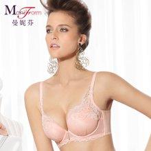曼妮芬性感蕾丝舒适棉质侧收副乳文胸 花与嫁纱20810548