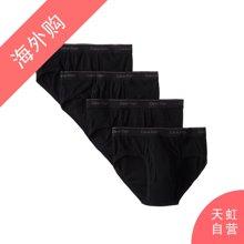 CalvinKlein男士三角内裤 黑色四条装M码(U4183-001-M)