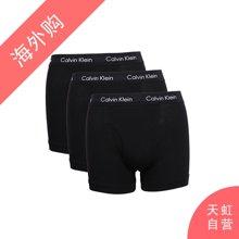CalvinKlein男士平角棉质舒适内裤 黑色三条装M码(NU2665-001-M)