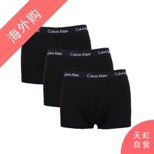 CalvinKlein男士平角内裤 黑色三条装S码(NU2664-001-S)